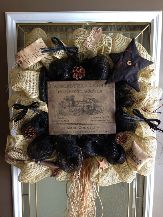 Primitive Amish Country Burlap & Black Square by CountryDecoMesh, $65.00
