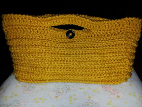 Mustard Ribbed Hand Bag by MamaKatCrochet on Etsy, $20.00