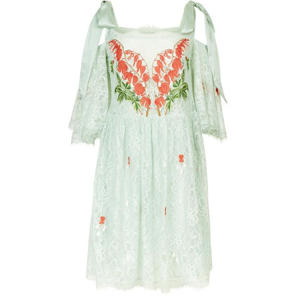 Temperley London Potion Mini Dress ($2,090) ❤ liked on Polyvore featuring dresses, temperley london, green mini dress, green color dress, mini dress and short green dress