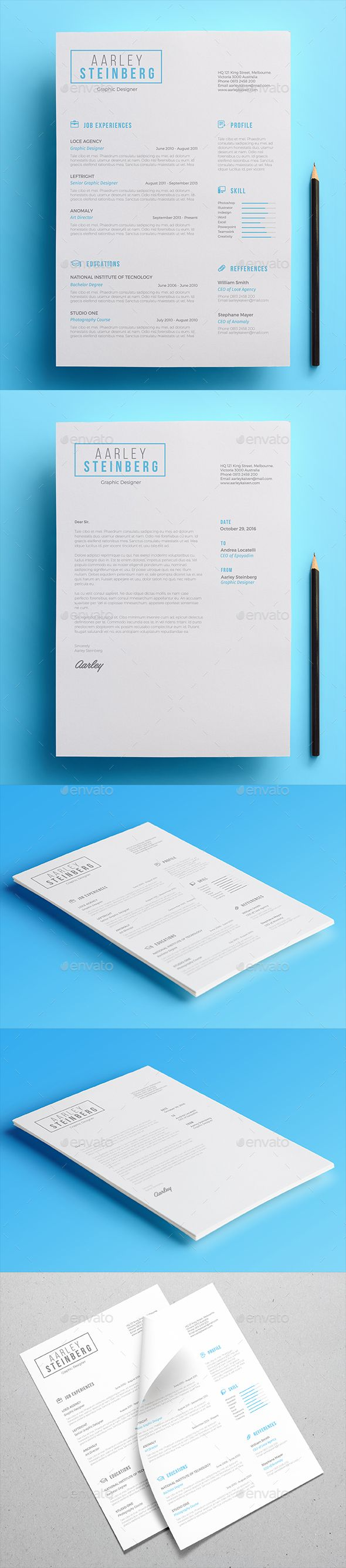 #Minimal #Resume 02 - Resumes #Stationery Download here: https://graphicriver.net/item/minimal-resume-02/18675708?ref=alena994