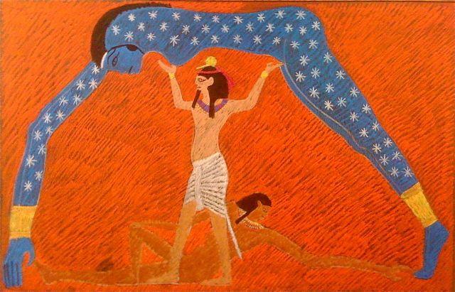 Waldorf ~ 5th grade ~ Ancient Egypt ~ Nut ~ chalkboard drawing