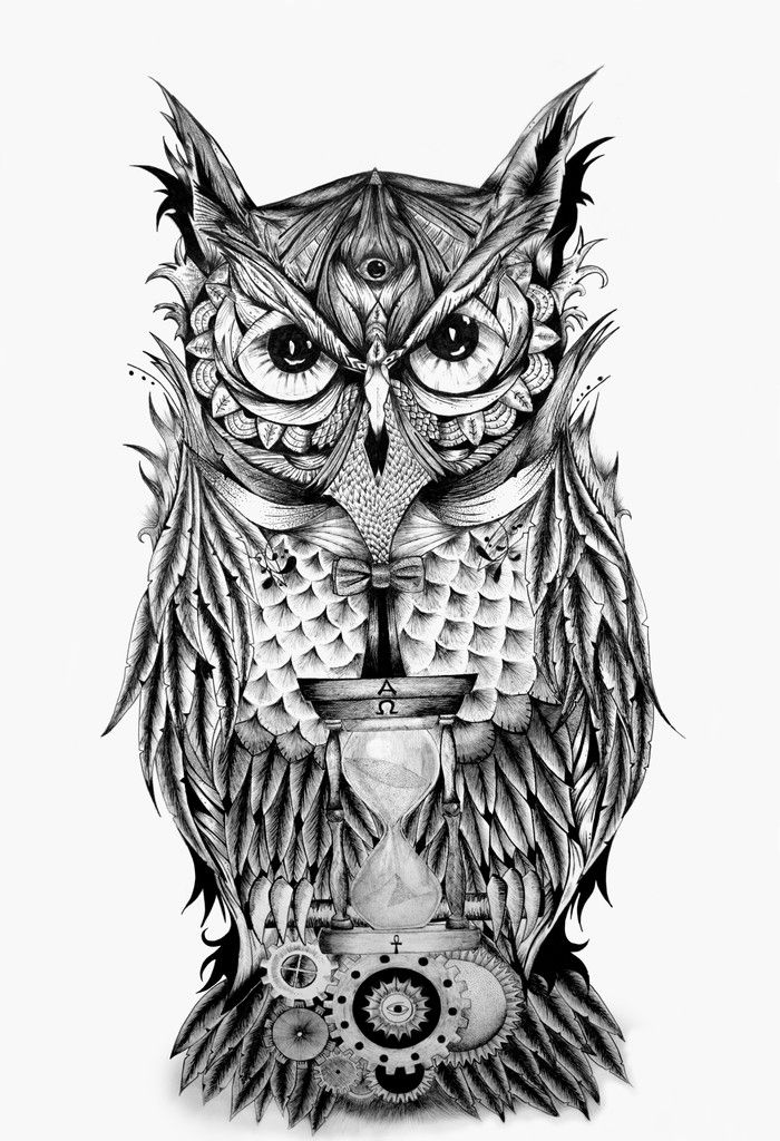"""rawbdz:  The Owl's Time byStefano D'Andrea The Owl's Time"""" is a project that begins, as most of my works, from a doodle on paper and it has a particular meaning; indeed the gothic owl has a third eye, which means omniscience and gives to the owl an almost divine trait. In front of the Owl, there"""