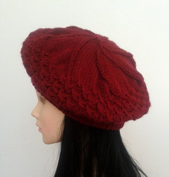 Check out this item in my Etsy shop https://www.etsy.com/listing/208008605/burgundy-women-knit-hatberet-bordo