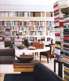 A room full of books.