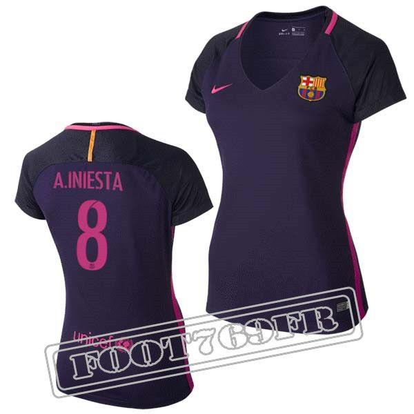 Promo Maillot Du A.Iniesta 8 FC Barcelone Femme Violet/Rose 16/17 Exterieur : La Liga