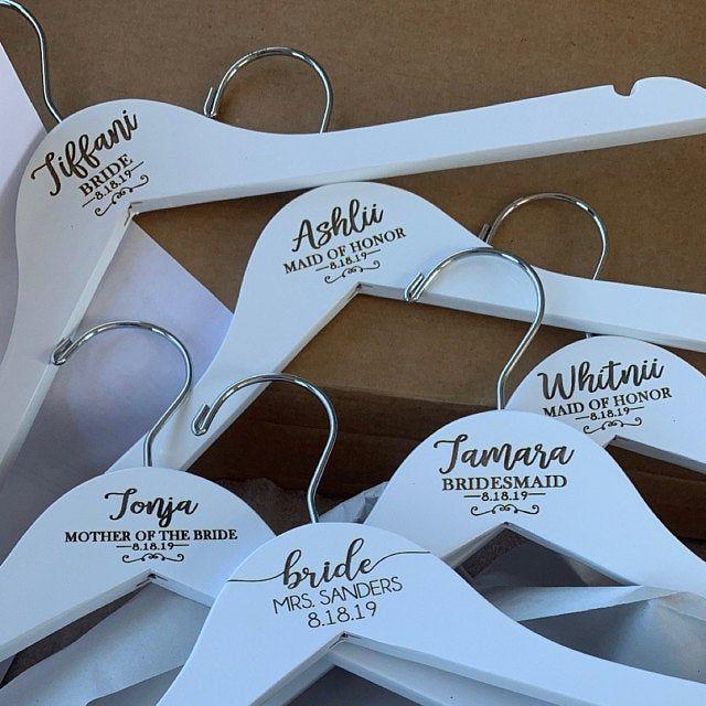Engraved Bridesmaid Hanger Bridesmaid Gift Monogram Hanger Etsy In 2020 Custom Wedding Hangers Bridesmaid Gift Hangers Wedding Hangers Personalized