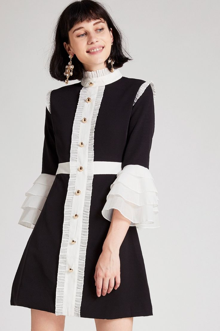Della Tiered Sleeves Pleated Dress Discover the latest fashion trends online at storets.com