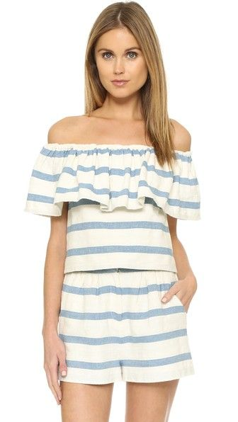 Off the Shoulder: Mara Hoffman Ruffle Off Shoulder Top | CoastalLiving.com