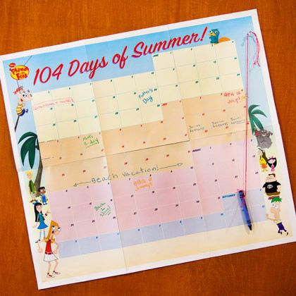 Phineas and Ferb 104 Days of Summer Calendar. This would be a fun last day activity that way kids know what they will do this summer.
