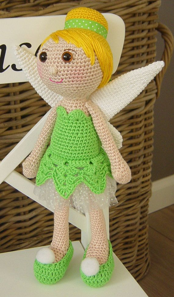 This Listing is for the PDF crochet PATTERN and NOT the actual doll !!! This Tinkerbell is my own interpretation and design of Disneys Tinkerbell. Tinkerbell is about 30 centimeters long. Pattern includes detailed instructions and clear photographs to help you create this doll. Feel free to contact me through Etsy if needed. The pattern is available in English and in Dutch. This crochet pattern can be downloaded immediately from Etsy once payment is confirmed. This pattern is for personal...