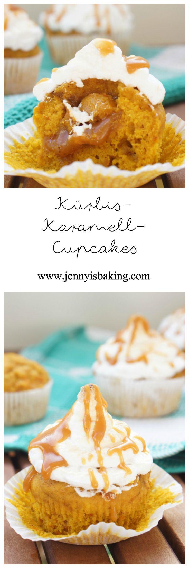 Kürbis-Karamell-Cupcakes mit Baiser