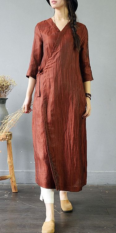 fb881ec26c Casual Loose Drawing Linen Maxi Dresses For Women S743