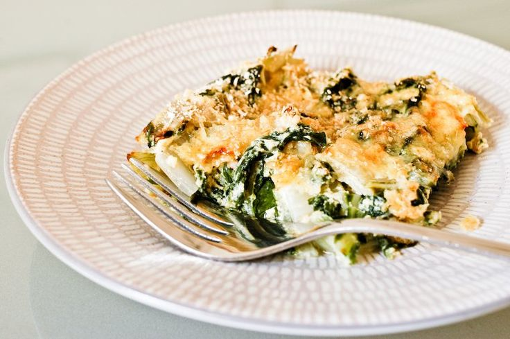 A quick recipe to make a comforting Swiss chard gratin -- a great way to eat your greens! Includes a keeper formula for homemade vegan béchamel sauce.