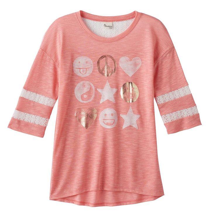 Girls 7-16 & Plus Size SO® Lace Yoke Varsity Tee, Size: 16 1/2, Lt Orange