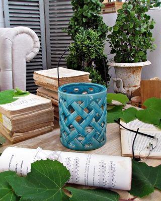 Lanterna ceramica turquoise - d.cm.14xh.16 (93.927)