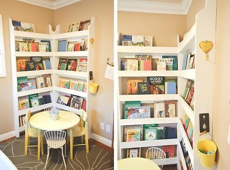 Book shelf corner: Reading Corners, Idea, For Kids, Corner Bookshelves, Reading Nooks, Book Shelves, Corner Shelves, Girls Rooms, Kids Rooms