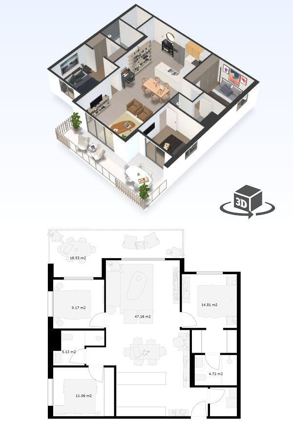 3 Bedroom Apartment Floor Plan In Interactive 3d Get Your Own 3d Model Today At Http Penthouse Apartment Floor Plan Condo Floor Plans Apartment Floor Plans