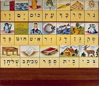 Leesplankje uit de Synagoge van Enschede, achtereenvolgens: (bovenste rij) waw = haak, jam = zee, kos = beker, eets = boom, kaf = lepel,har = berg, ner = licht, (tweede rij) pach = kan, choet = draad, iesj = man, zer = krans, dack = vis, gan = tuin, sak = zak, (onderste rij) sjoelchan = tafel, michtav = schrift, sefer = boek, bajit = huis, tsvie = hert.