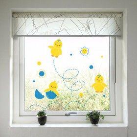 Velikonoční dekorace na okno - Kuřátka