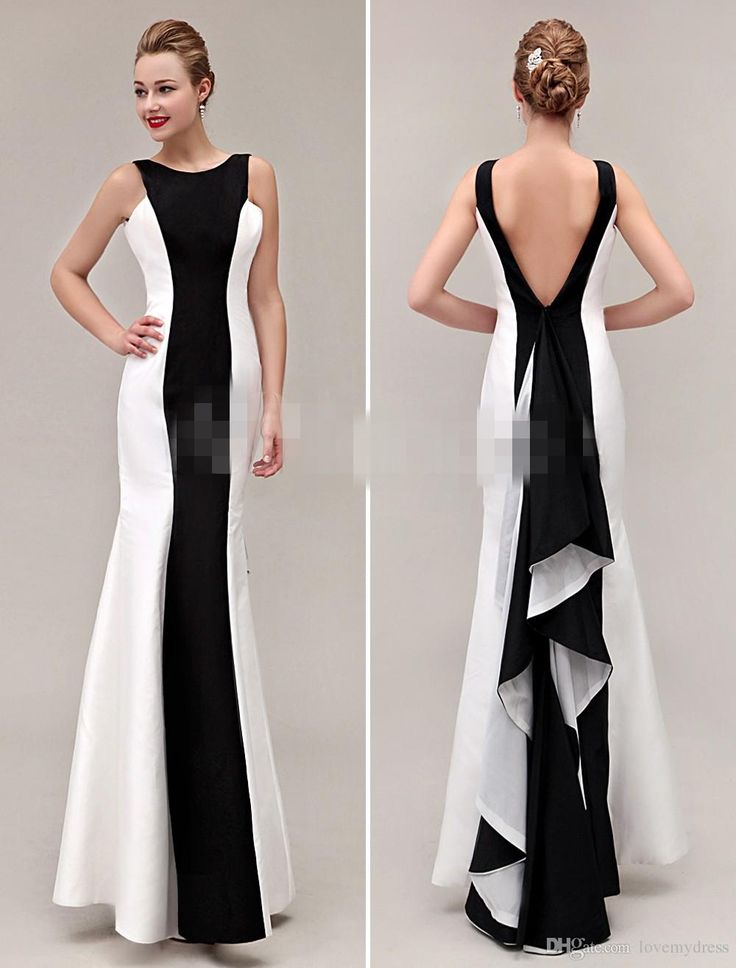 Cheap Evening Dresses White And Black Sheath Slim Lon Gprom Backless Sexy Jewel Neck Sleeveless Custom Dresses Evening Wear Formal Evening Dress Gowns For Womens From Lovemydress, $91.31| Dhgate.Com