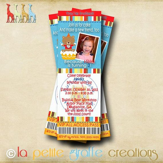 Printable Photo Birthday Invitation  Buildabear by LaPetiteGiraffe, $12.50