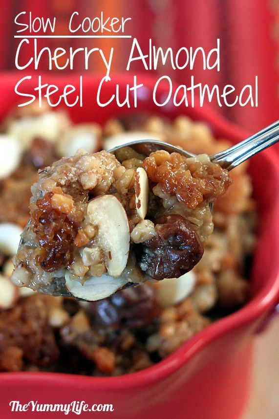 Overnight, Slow Cooker, Cherry Almond Steel-Cut Oatmeal. Dairy free and vegan. www.theyummylife.com/Slow_Cooker_Cherry_Almond_Oatmeal
