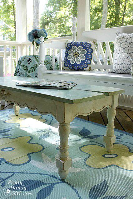 Need some inspiration for your porch or patio? I love this coastal blue + Aqua