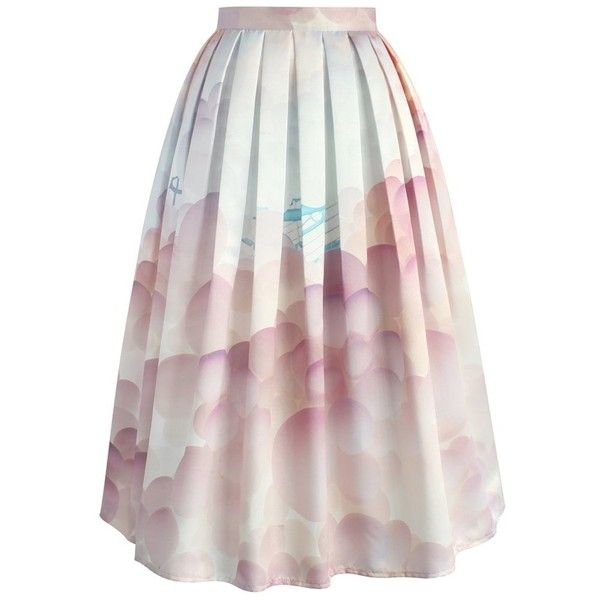 Chicwish Balloon My Day Printed Midi Skirt (£35) ❤ liked on Polyvore featuring skirts, pink, pink skirt, midi skirt, balloon skirt, pink midi skirt and calf length skirts