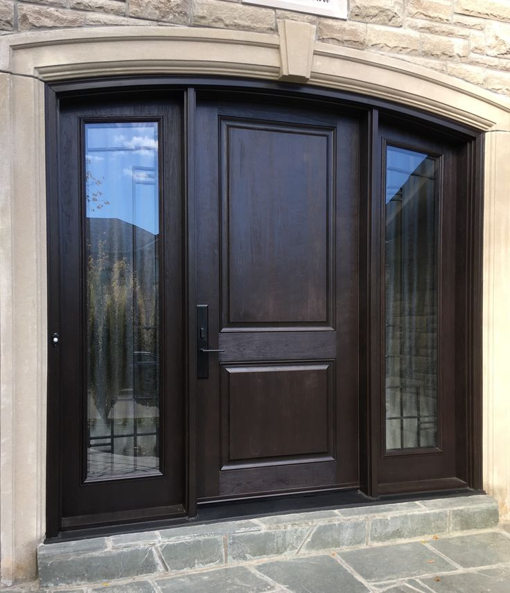 We love this front entry with a deep chocolate arched door - Fiberglass exterior doors canada ...