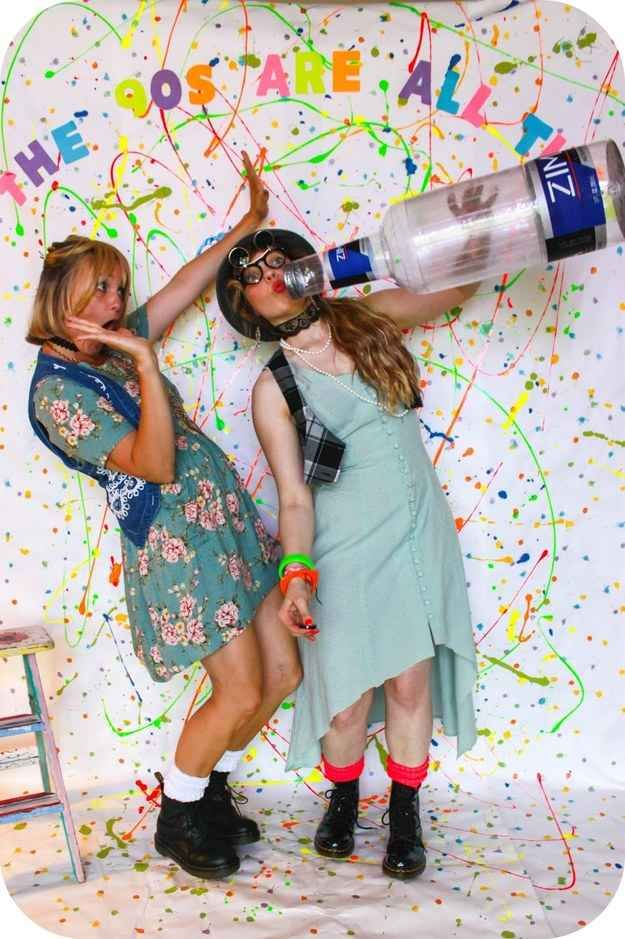 Create a splatter paint photo booth. | 29 Essentials For Throwing A Totally Awesome '90s Party: