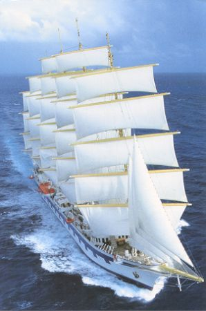 "The Royal Clipper,  ""There's no thrill in easy sailing when the skies are clear and blue, there's no joy in merely doing things which any one can do. But there is some satisfaction that is mighty sweet to take, when you reach a destination that you never thought you'd make""  -  unknown"