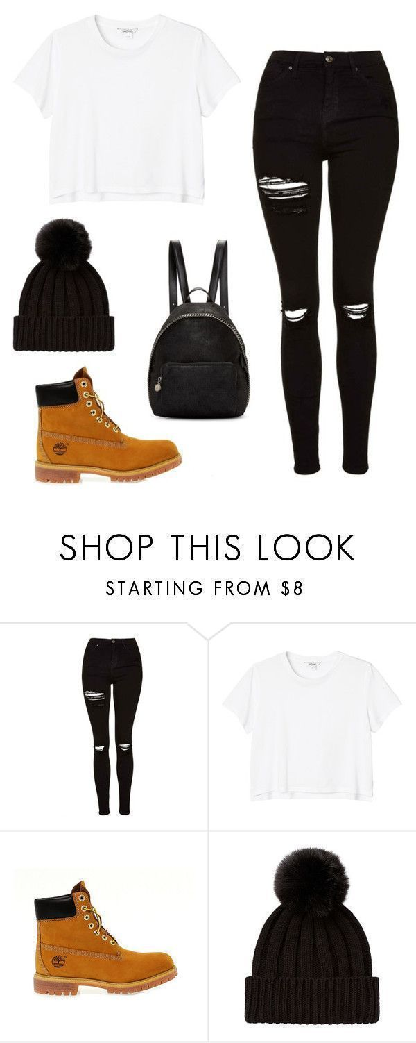 """Bts- jungkook inspired outfit"" by kxtlkh ❤ liked on Polyvore featuring Topshop, Monki, Timberland and STELLA McCARTNEY #timberlandoutfits"