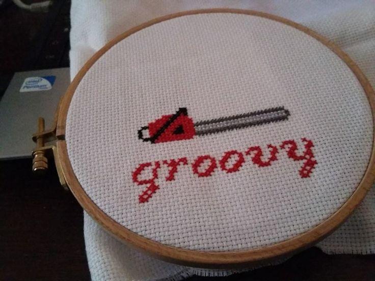 My Groovy cross stitch. Evil dead chainsaw For sale ! https://www.etsy.com/fr/shop/GroovyPoppStitch
