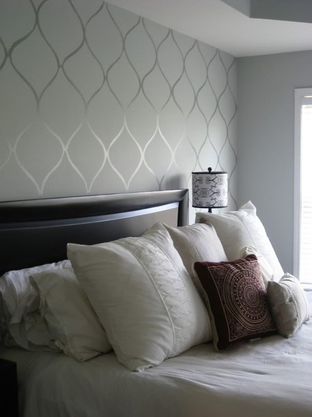 Love the shimmer stencil on wall