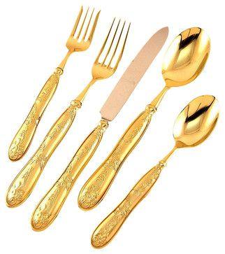 Ricci Stainless Botticelli Gold Satin 20-Piece Set - transitional - Flatware - Fine Brand Sales
