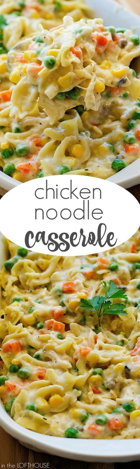 I like this chicken noodle casserole. I only use 1 can soup (usually cream of chicken) and no spices. Salt & Pepper to taste at the table is perfect. However, having a good flavor to your chicken is important, so make sure you spice it up a bit when you're cooking it beforehand (I like a dash of S&P and some Lawry's, Old Bay, or other season-all spice; just watch out for the salt content).