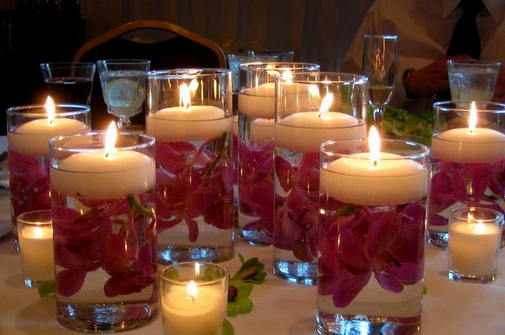 Wedding Table Decorations Candles Flowers