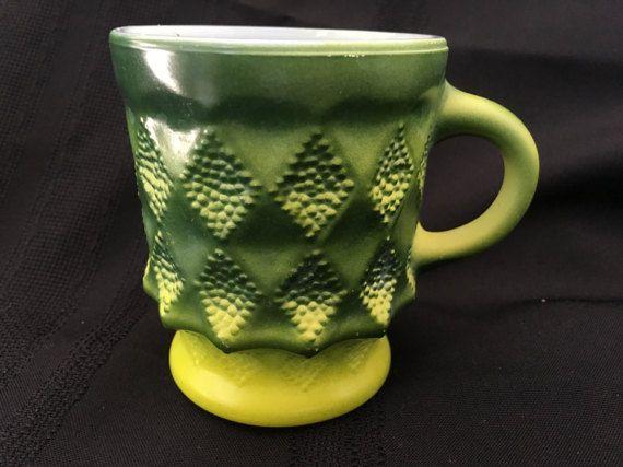 Vintage Anchor Hocking Kimberly Diamond Pattern Green Coffee Mug Cup