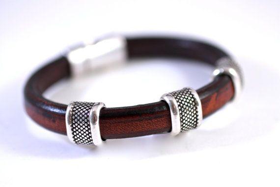 Leather Bangle Leather Bracelet Silver Bead Unisex by amyfine, $50.00