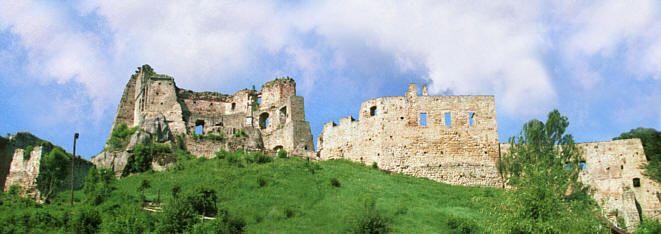 Zamek Kamieniec, podzielony na 4 części, od lewej: przedzamcze zach., zamek górny, średni i przedzamcze wsch.