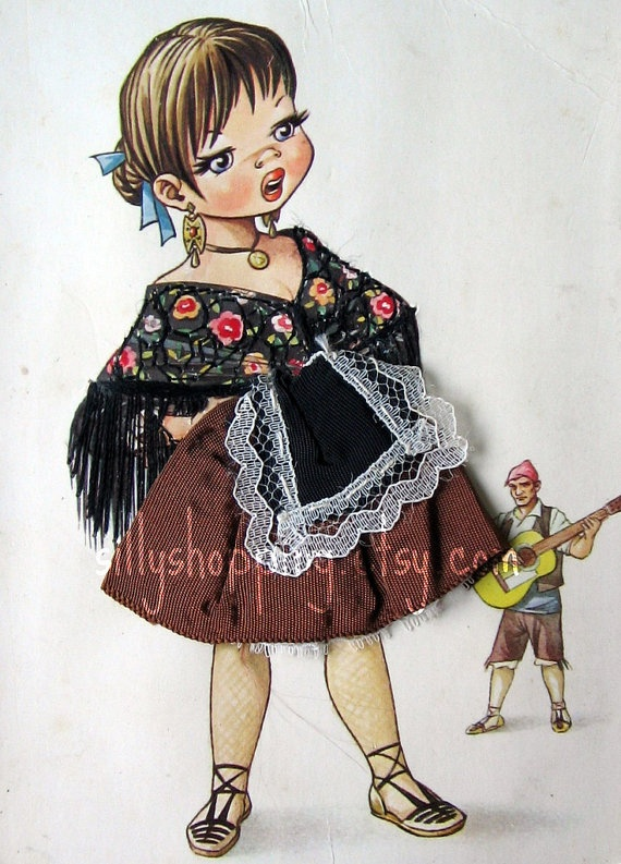 Vintage Embroidered Spanish Girl