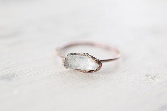 Quartz ring - Crystal ring - Rare English quartz ring - Boho ring - Raw stone ring - Copper ring - Electroformed ring - Size O