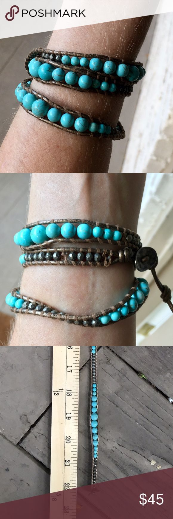 """Auth Chan Luu Turquoise & Hematite Wrap Bracelet Authentic Chan Luu Turquoise & Hematite 3 Wrap Bracelet. Adjustable 21"""" - 22"""". Gunmetal leather. Please feel free to ask any questions! Make me an offer... no trades please. Thanks! Chan Luu Jewelry Bracelets"""