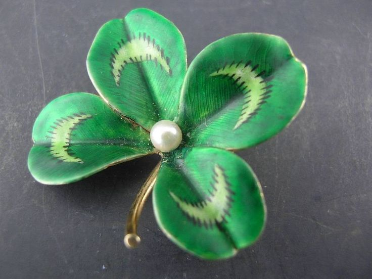 Incredible Art Nouveau 14k Gold & Enamel Pin / Brooch Clover / Floral w/ pearl