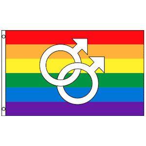 Rainbow Gay Pride Flag (Double Male Mars Symbols) - 3 x 5 Polyester Flag
