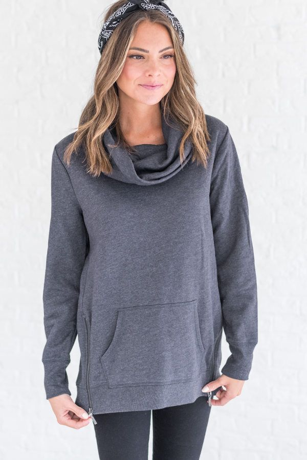 Cowl neck charcoal hoodie, cute casual outfit ideas for fall, winter hoodie outfit for women, casual winter outfit
