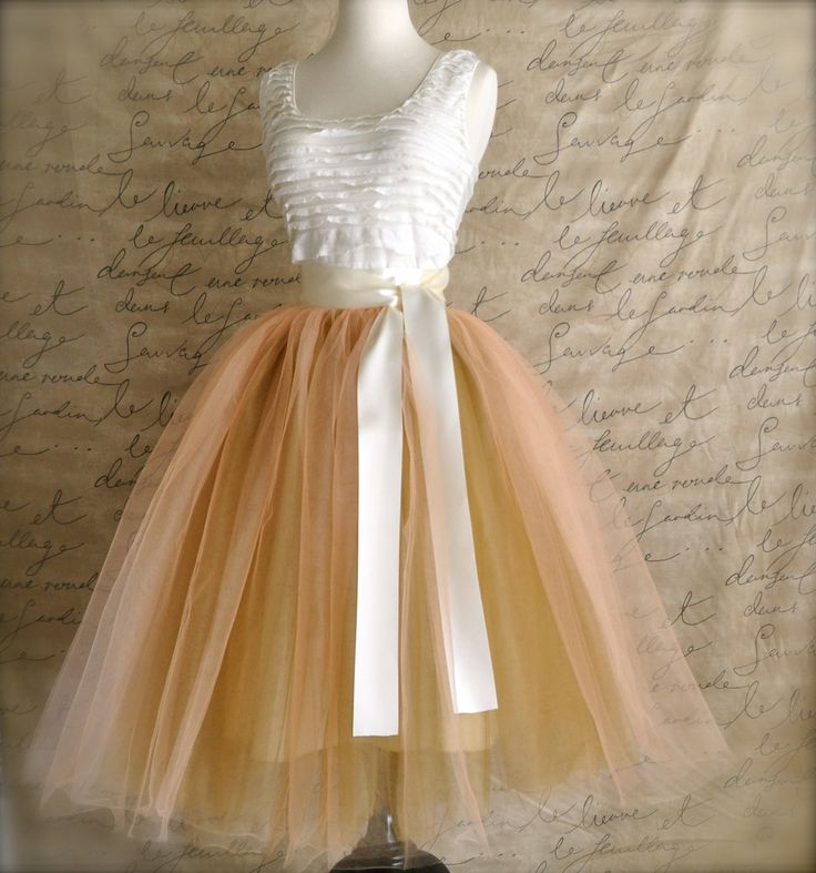 Women's fall tulle skirt in warm peach over by TutusChicBoutique, $200.00