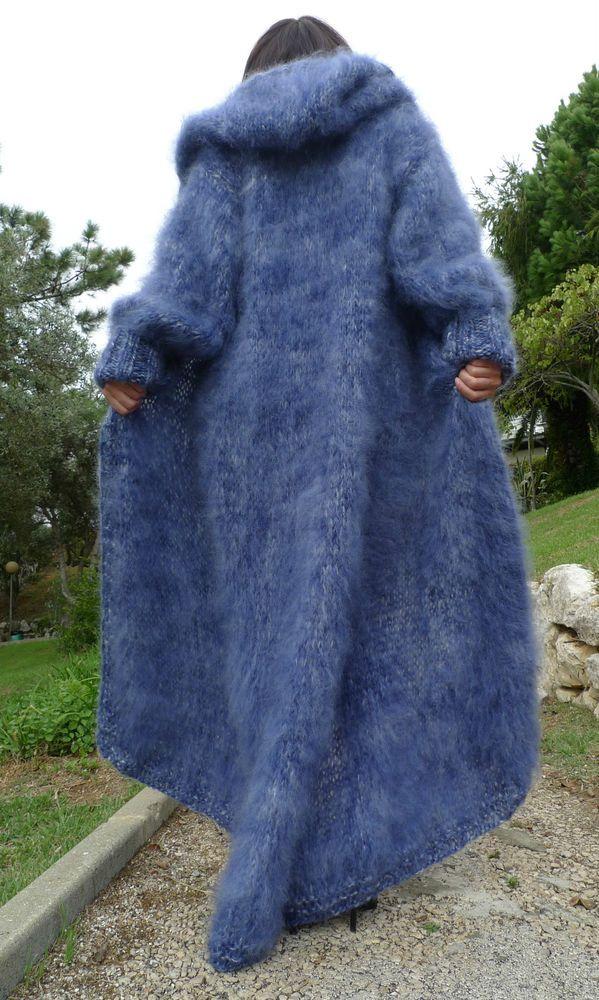 Luxury Blue HandKnitted Longhair Mohair Coat Cardigan  Hooded  by Lanaknittings #HandmadebyLanaKnittings #Hooded