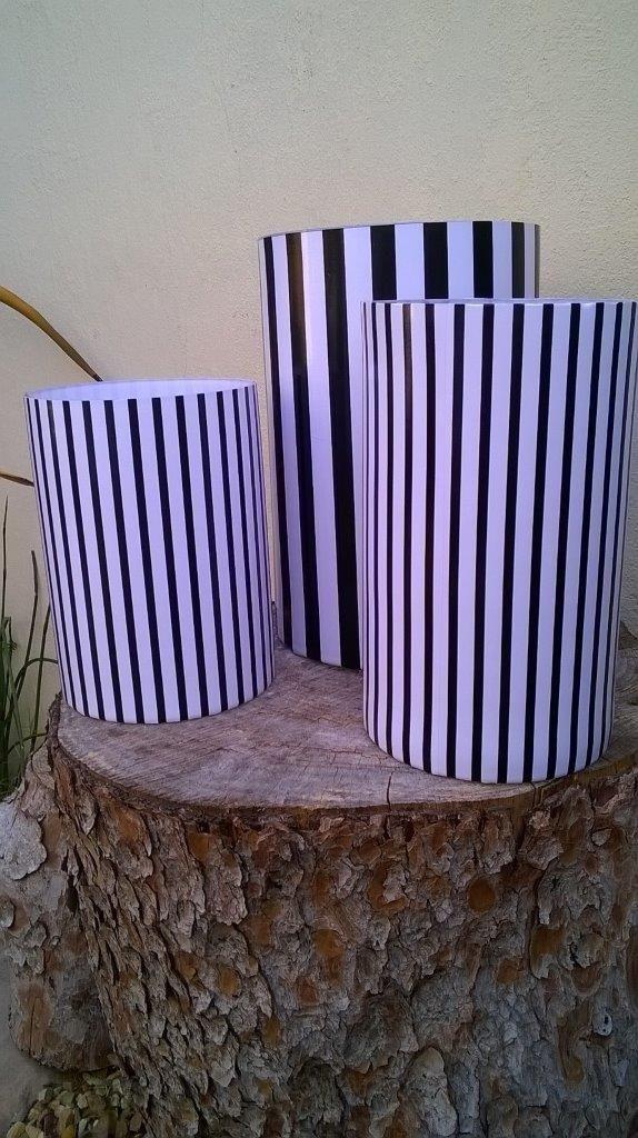 pin stripe vinyl wrapped vases