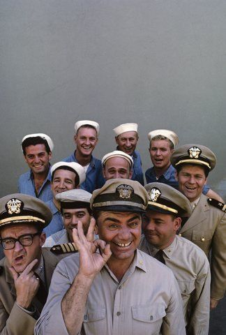 """""""McHale's Navy"""" (back row, left to right) Edson Stroll, John Wright, Carl Ballantine, Gary Vinson (middle row, left to right) Billy Sands, Gavin MacLeod, Bob Hastings (front row, left to right) Joe Flynn, Yoshio Yoda, Ernest Borgnine, Tim Conway  RIP Ernest"""